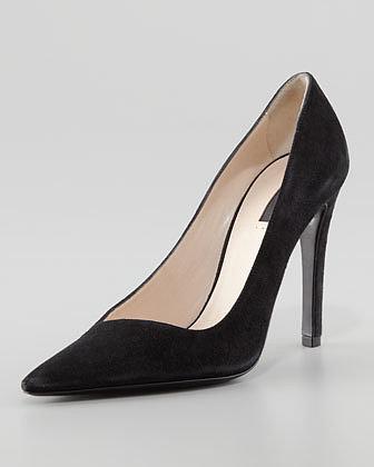 Giorgio Armani Asymmetric Pointed-Toe Pump, Black