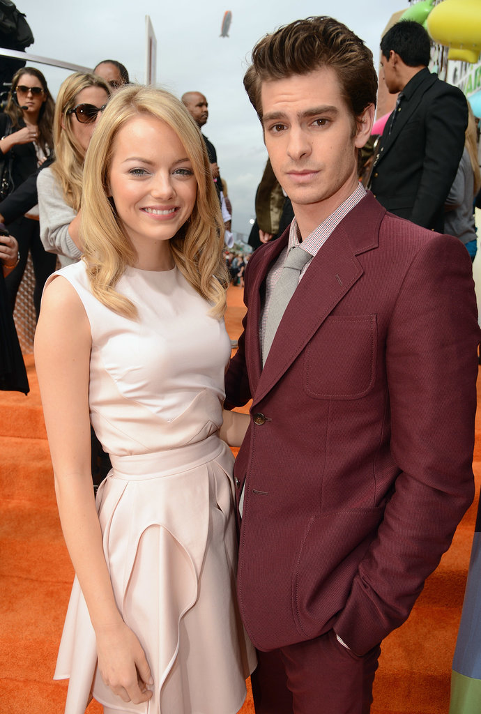 Emma Stone and Andrew Garfield posed together at the Nickelodeon Kids' Choice Awards in LA in March 2012.