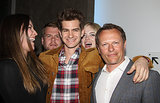 Emma Stone hilariously photobombed Andrew Garfield at the afterparty for the play Bull's opening night in May 2013.