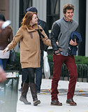 Emma Stone and Andrew Garfield cracked up during a couple's outing in NYC in November 2011.