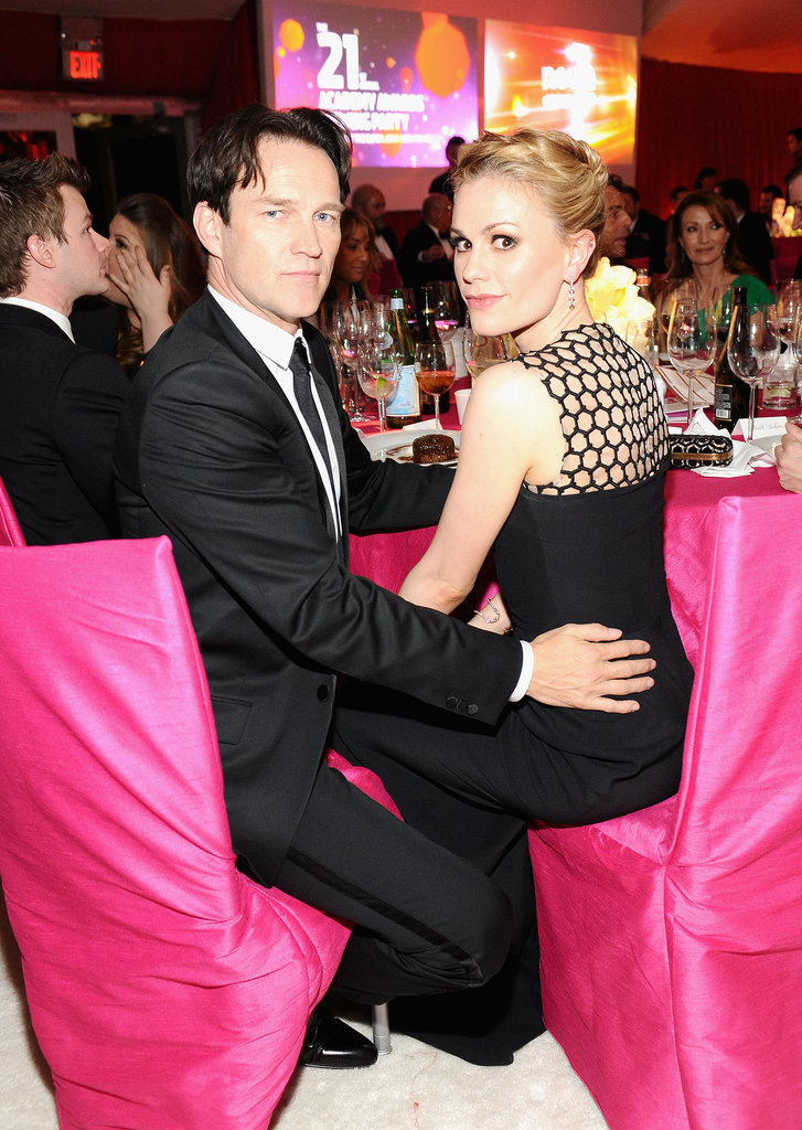 Stephen Moyer kept his hand on wife Anna Paquin as they attended Elton John's annual Oscars viewing party in LA in February 2013.