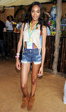Jourdan Dunn showed some leg at the V Festival in her casual festival style.