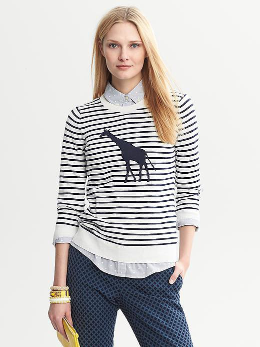 It's a fact that sweaters are just better with giraffes on them. The proof is this Banana Republic Giraffe Striped Pullover ($80).
