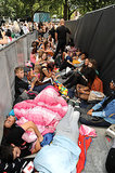 Fans slept in sleeping bags while waiting for the premiere.