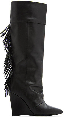 Fringed leather wedge boots