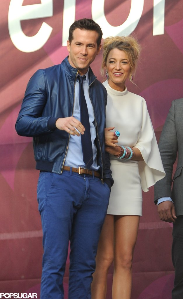 Blake Lively stayed close to Ryan Reynolds at the Chime for Change concert in London in June 2013.