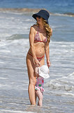 Rebecca Gayheart wore a printed bikini on the beach in Malibu.