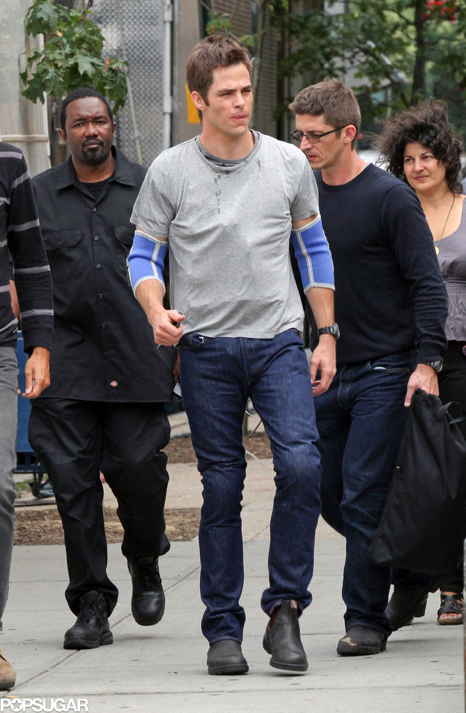 Chris Pine looked beat up on the NYC set of Jack Ryan in NYC on Sunday.