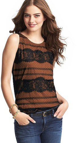 Tiered Lace Overlay Shell