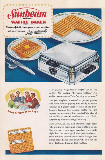 This one's all about the numbers: make not one but four 20-square-inch waffles a time. Oh baby!