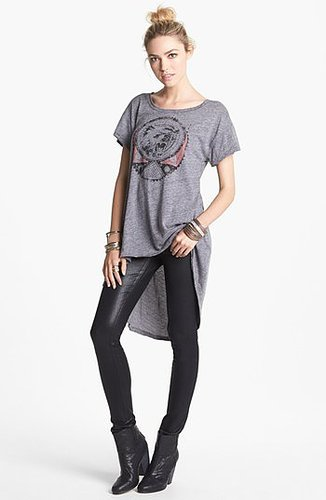 Free People 'In My Dreams' High/Low Tee Charcoal Combo X-Small