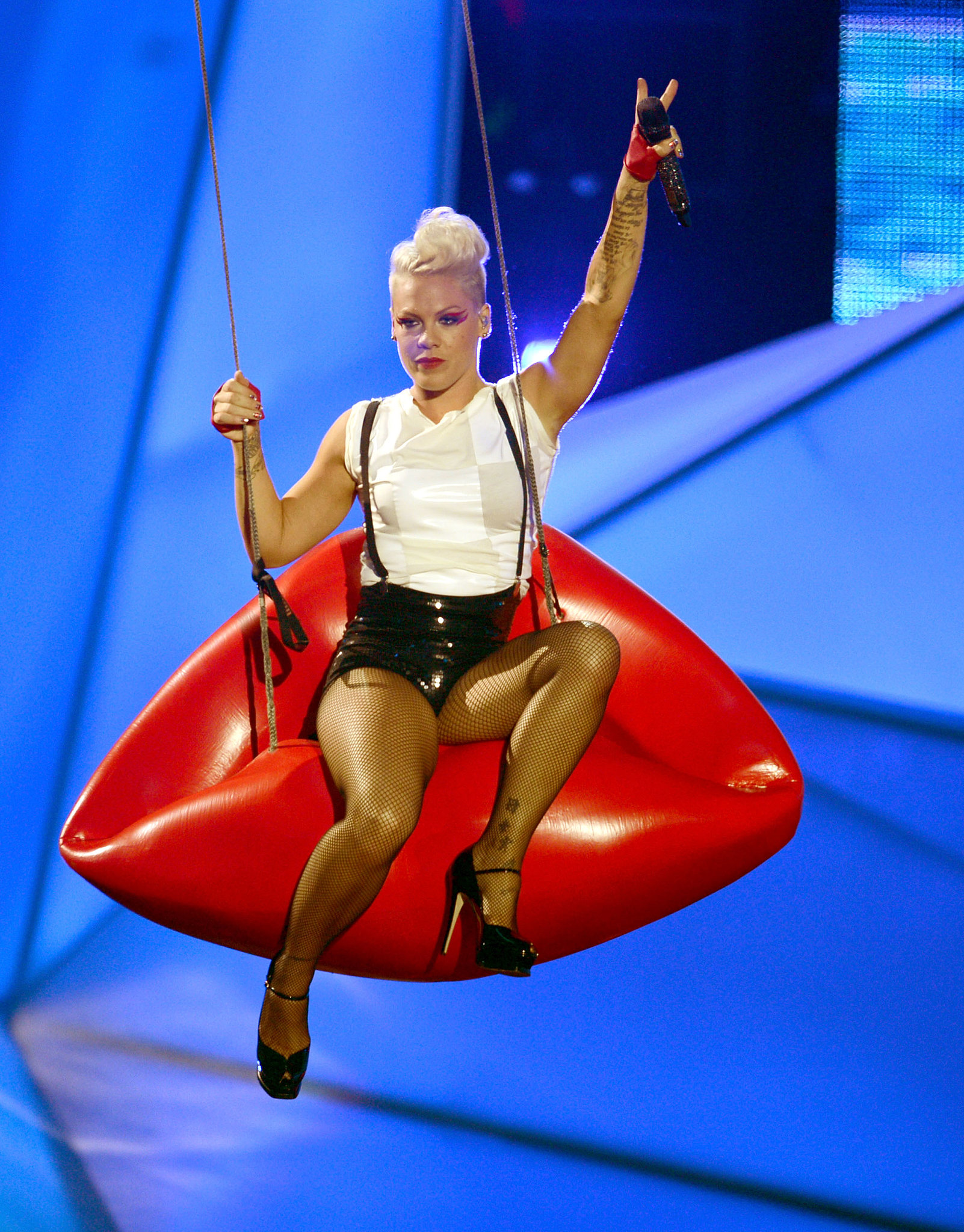 Pink swung on a pair of lips during her performance at the 2012 VMAs.