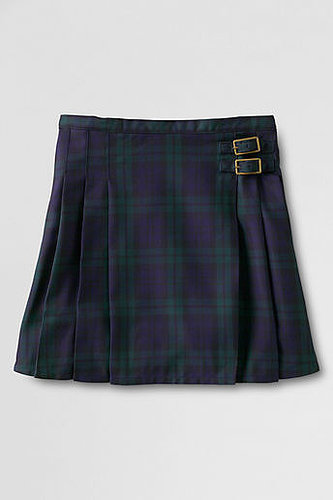 Women's Pleated Plaid Woven Side Buckle Skirt