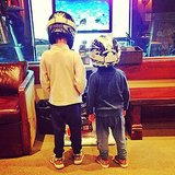 Jack Moynahan and Benjamin Brady channeled Daft Punk while playing video games at home.  Source: Instagram user giseleofficial