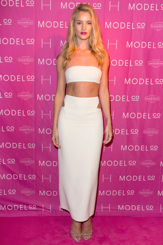 Rosie Huntington-Whitely took angelic dressing to new heights in a white top, which she complemented with a matching full-length skirt.