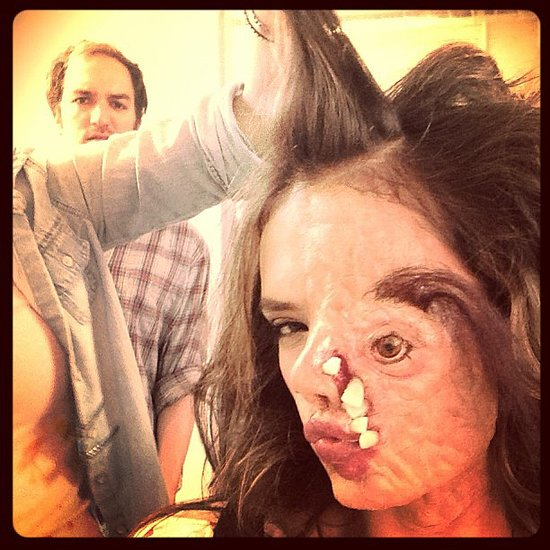 Alessandra Ambrosio wore crazy, creepy prosthetics for a Funny or Die video — and we can't get over how scary this photo is! Source: Instagram user alessandraambrosio