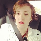 Lena Dunham snapped a selfie while heading to the set of Girls. Source: Instagram user lenadunham