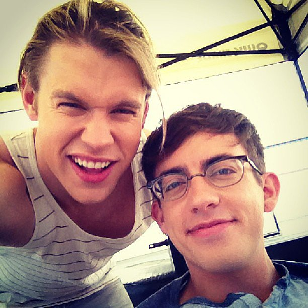 Chord Overstreet and Kevin McHale posed on the Glee set in LA. Source: Instagram user chordover