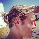 Chord Overstreet rocked a ponytail on the set of Glee. Source: Instagram user kevinmchale