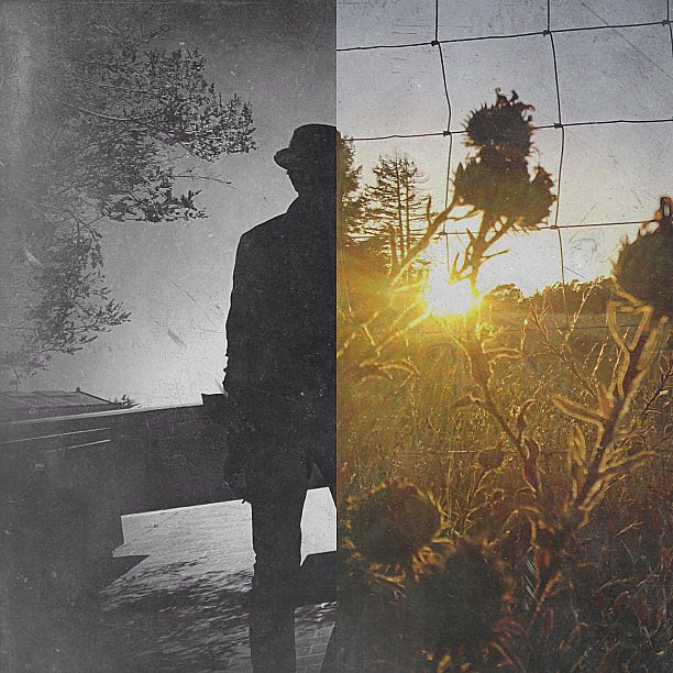 Richard juxtaposed the defined silhouette of a man with a gauzy, ethereal image of a sun setting over a field. The textured look was created with the Mextures app. Source: Instagram user koci_glass