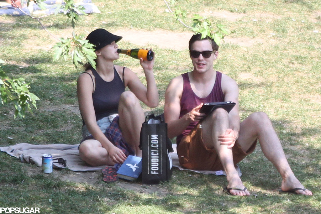 Jennifer Lawrence sipped a Champagne while sitting next to Nicholas Hoult.