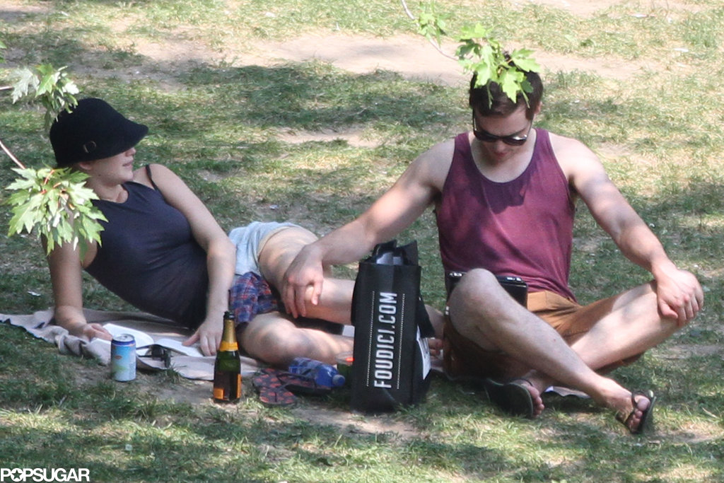 Nicholas Hoult rested his hand on Jennifer Lawrence's leg at the park.