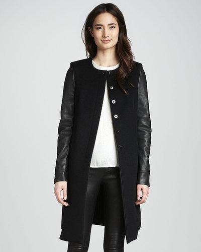 J Brand Ready to Wear Emilie Leather-Sleeve Wool Coat