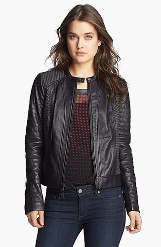 Trouve Houndstooth Panel Quilted Leather Moto Jacket Small