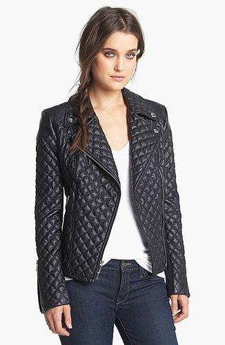 BCBGeneration Quilted Faux Leather Moto Jacket Medium