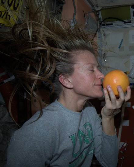 """Grapefruit never smelled so good! Fresh fruit arrived on the Progress cargo vehicle yesterday. Taken July 28, 2013. KN from space."" Source: Pinterest user Karen Nyberg"