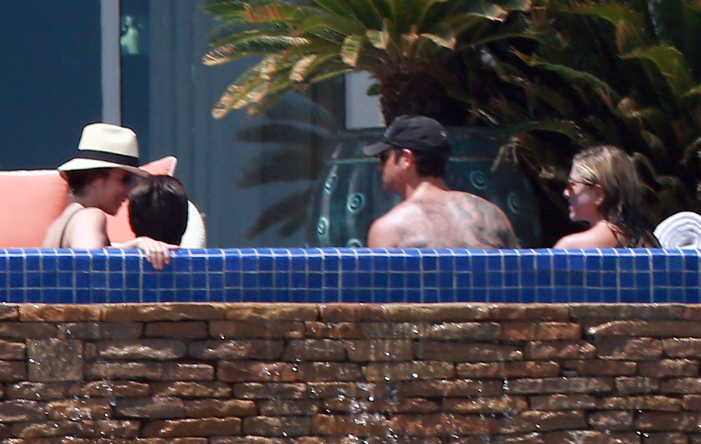 Jennifer Aniston and Justin Theroux hung out with Jason Bateman and his wife in the pool.