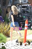 Kate Hudson arrived on her LA set wearing short denim shorts.