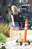 Kate Hudson arrived on her LA set wearing short denim shorts.