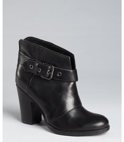 BELLE by Sigerson Morrison black leather buckle side stacked heel ankle boots