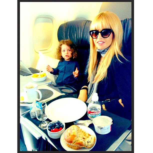 Skyler Berman enjoyed a first-class meal at 35,000 feet with his mom. Source: Instagram user rachelzoe