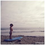 Finn Warren looked ready to tackle the boogie board on a quiet morning. Source: Instagram user autumn_reeser