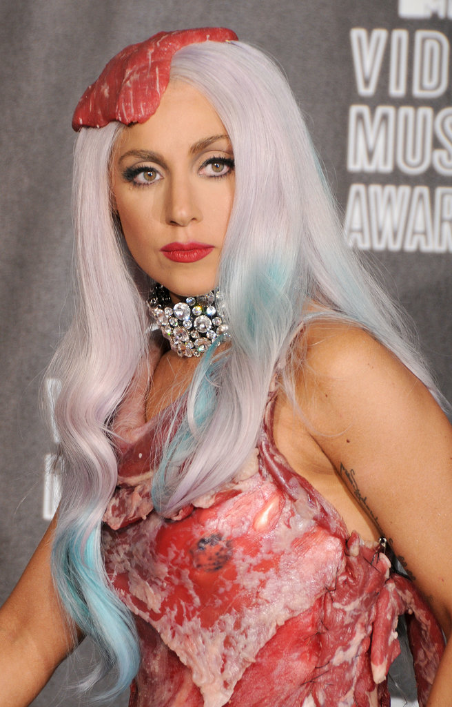 Who could forget Lady Gaga's blue streaks and steak hair piece?