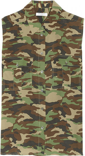 Equipment Rene camouflage-print washed-silk top