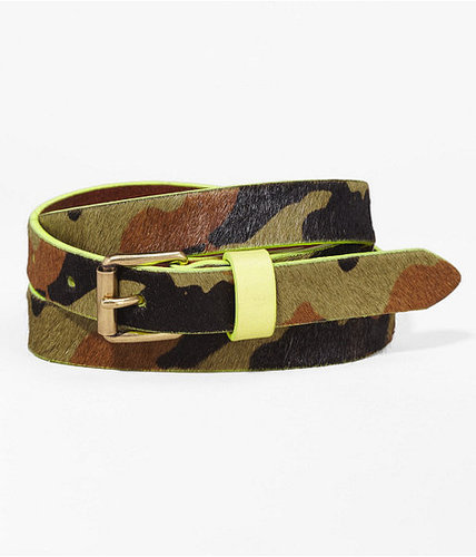 Neon Tipped Camouflage Haircalf Skinny Belt
