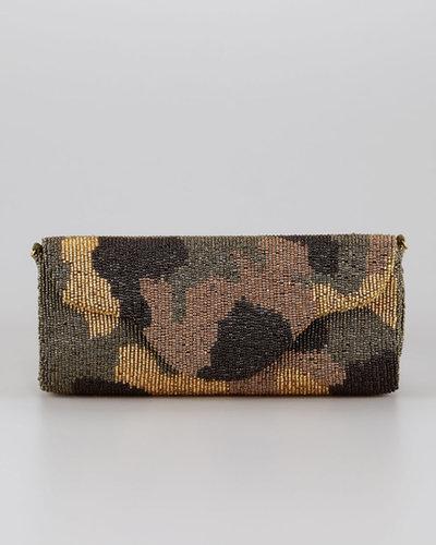 Moyna Camouflage Beaded Clutch Bag, Olive