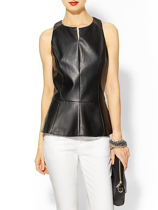 Vince's Tinley Road vegan leather top ($50, originally $89) will inject a tough edge to black trousers and pumps.