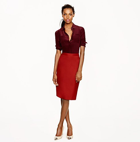 The rich cranberry hue on this J.Crew's Super 120s pencil skirt ($118) will add an instant jolt of color to your 9 to 5 wardrobe.
