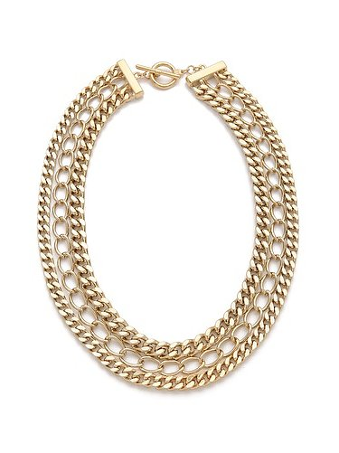 Amp up your office or party style with this versatile Adia Kibur three-layer chain necklace ($50).