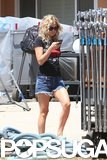 Kate Hudson wore denim shorts on the set of Wish I Was Here on Wednesday in LA.