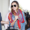 Miranda Kerr Wears a Striped Dress at LAX
