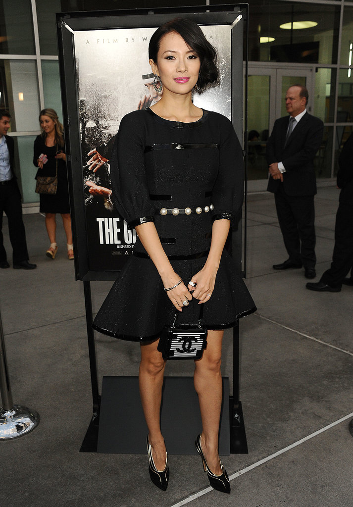 It hardly gets more classic than an all-black Chanel look! We adored this elbow-length style from the Fall 2013 collection on Ziyi Zhang at the premiere of The Grandmaster.