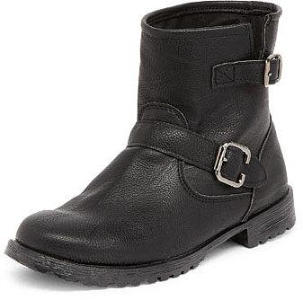 Black buckle biker boot
