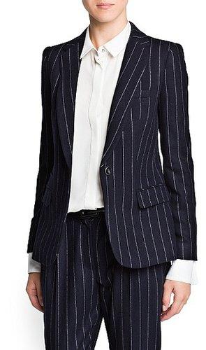 Pinstripe wool-blend suit blazer