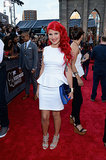 Carly Aquilino was all smiles on the VMAs red carpet.