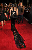 Lady Gaga's black gown had a train.